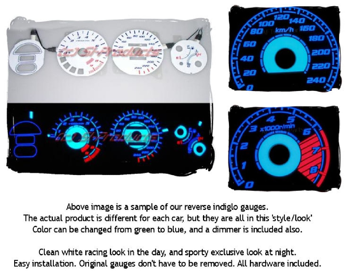 Honda Accord 98-02 CG 7/8 Reverse Indiglo Gauges
