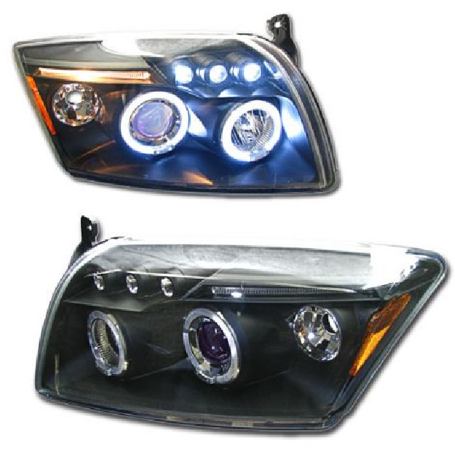 Dodge Caliber 06+ Halo Projector Headlights Black