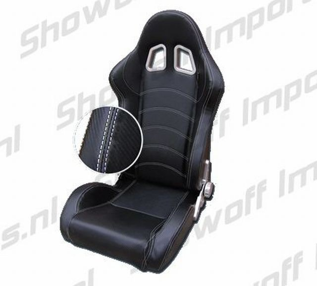 SPL Adjustable Racing Seat Model Z Black/White +Carbonlook